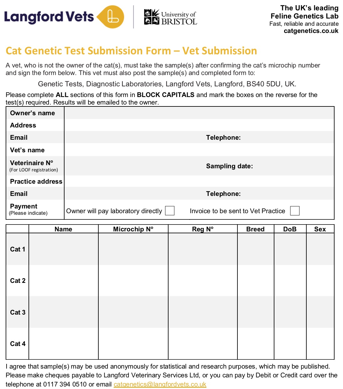 Vet Checked Submission Form